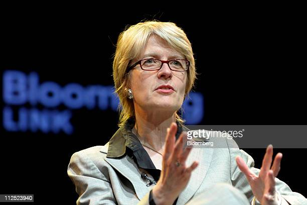 Maria Gotsch president and chief executive officer of New York City Investment Fund speaks at Bloomberg Link Empowered Entrepreneur Summit in New...