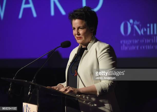 Maria Goyanes speaks onstage at The Eugene O'Neill Theater Center's 18th Annual Monte Cristo Award Honoring LinManuel Miranda Edison Ballroom on...