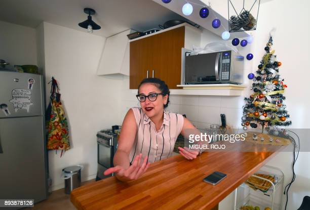Maria Gracia Sosa of Venezuela the winner of the cooking reality show MasterChef Uruguay speaks during an interview with AFP in Montevideo on...