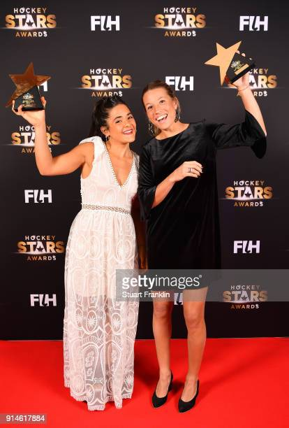 Maria Granatto and Delfina Merino of Argentina with eir awards during the Hockey Star Awards night at Stilwerk on February 5 2018 in Berlin Germany