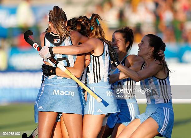 Maria Granatto of Argentina and teammates celebrate their team's first goal during a final match between Argentina and New Zealand as part of Day 9...