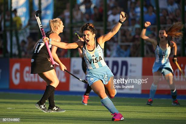 Maria Granatto of Argentina celebrates scoring her team's first goal during the final match between Argentina and New Zealand on day 9 of the Hockey...