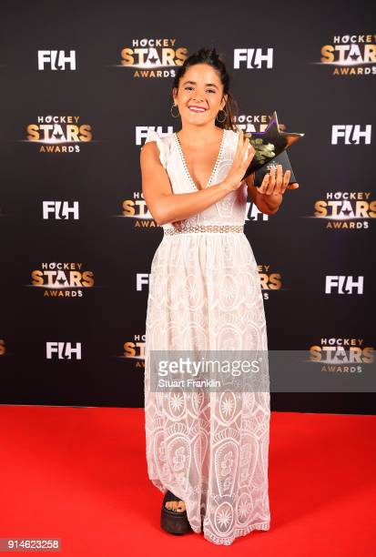 Maria Granatto of Argentina holds her rising star award during the Hockey Star Awards night at Stilwerk on February 5 2018 in Berlin Germany