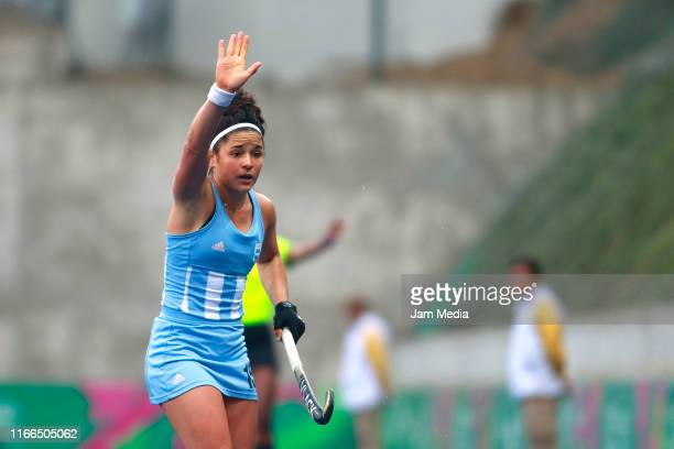 Maria Granatto of Argentina reacts during Hockey Women Semifinals on Day 11 of Lima 2019 Pan American Games at Hockey Field of Complejo Deportivo...