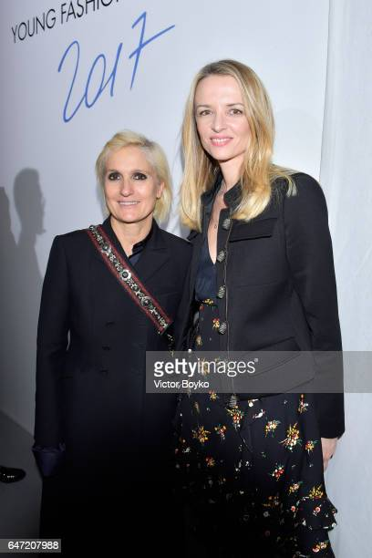 Maria Grazia Chiuiri and Delphine Arnault attend the Cocktail Reception For The LVMH PRIZE 2017 on March 2 2017 in Paris France