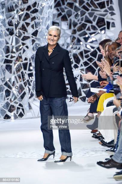 Maria Grazia Chiuri acknowledges the audience after the Christian Dior show as part of the Paris Fashion Week Womenswear Spring/Summer 2018 on...