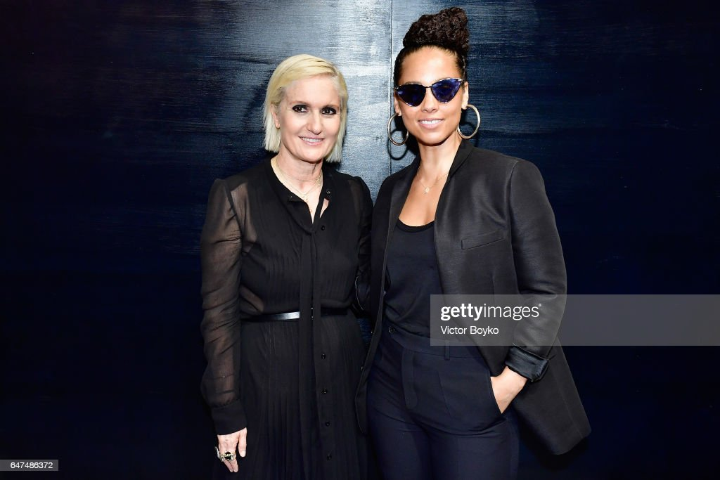 Maria Grazia Chiuri and Alicia Keys pose backstage after the Christian Dior show as part of the Paris Fashion Week Womenswear Fall/Winter 2017/2018 on March 3, 2017 in Paris, France.
