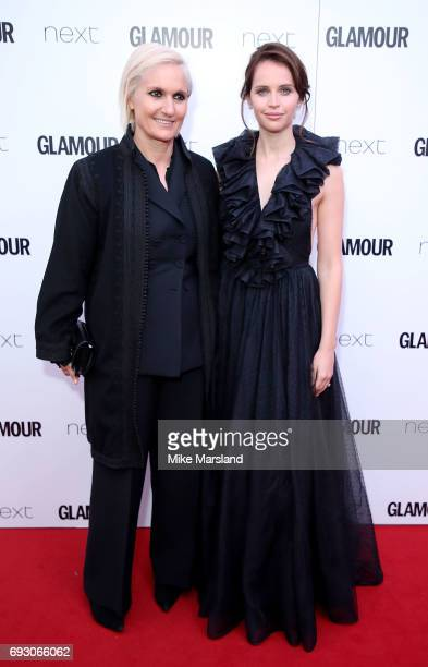 Maria Grazia Chiuri and Felicity Jones attend the Glamour Women of The Year awards 2017 at Berkeley Square Gardens on June 6 2017 in London England
