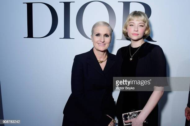 Maria Grazia Chiuri and Haley Bennett attend the Christian Dior Haute Couture Spring Summer 2018 show as part of Paris Fashion Week on January 22...