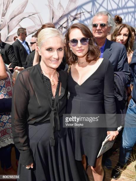 Maria Grazia Chiuri and Natalie Portman attends the Christian Dior Haute Couture Fall/Winter 20172018 show as part of Haute Couture Paris Fashion...