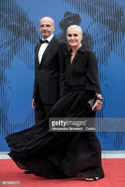 Maria Grazia Chiuri and Paolo Regini attend the The Franca Sozzani Award during the 74th Venice Film Festival at Sala Giardino on September 1 2017 in...