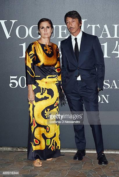 Maria Grazia Chiuri and Pier Paolo Piccioli attend Vogue Italia 50th Anniversary Event on September 21 2014 in Milan Italy