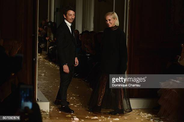 Maria Grazia Chiuri and Pier Paolo Piccioli pose on the runway during the Valentino Haute Couture Spring Summer 2016 show as part of Paris Fashion...
