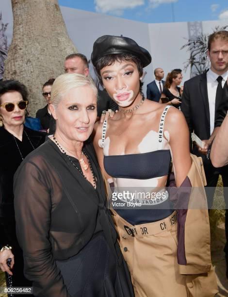 Maria Grazia Chiuri and Winnie Harlow attends the Christian Dior Haute Couture Fall/Winter 20172018 show as part of Haute Couture Paris Fashion Week...