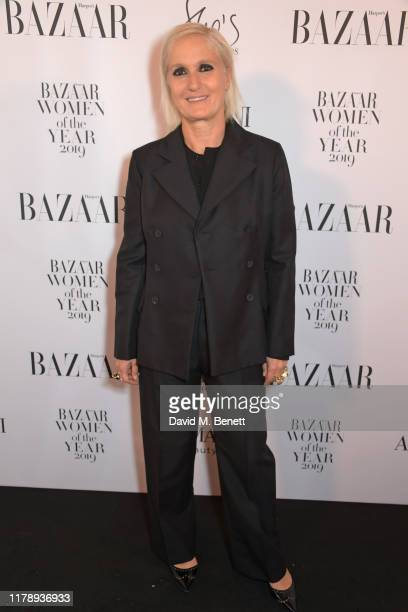 Maria Grazia Chiuri attends the Harper's Bazaar Women of the Year Awards 2019, in partnership with Armani Beauty, at Claridge's Hotel on October 29,...