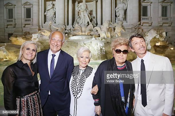 Maria Grazia Chiuri guest Anna Fendi Carla Fendi and Pierpaolo Piccoli attend the Fendi Roma 90 Years Anniversary Welcome Cocktail at Palazzo...