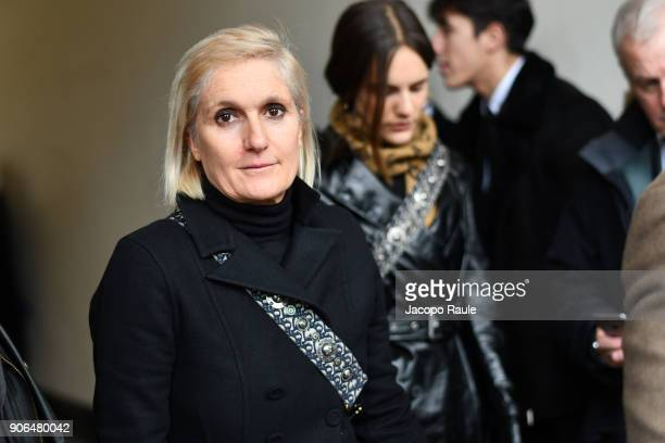 Maria Grazia Chiuri is seen arriving at Louis Vuitton Menswear Fall/Winter 20182019 show as part of Paris Fashion Week on January 18 2018 in Paris...