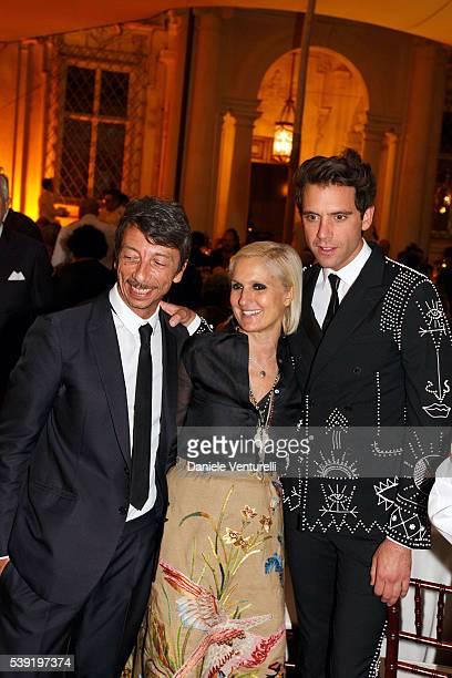 Maria Grazia Chiuri Pierpaolo Piccioli and Mika attend McKim Medal Gala In Rome at Villa Aurelia on June 9 2016 in Rome Italy