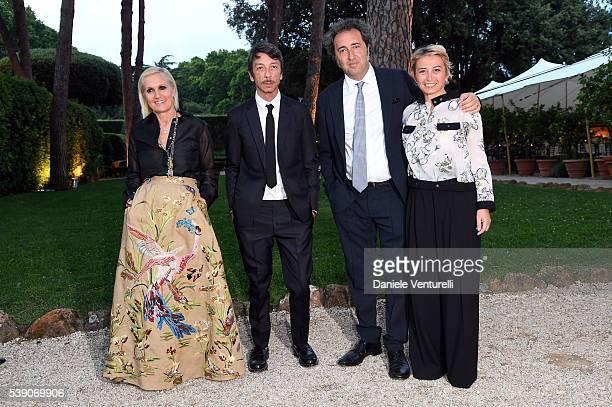 Maria Grazia Chiuri Pierpaolo Piccioli Paolo Sorrentino and Daniela Sorrentino attend McKim Medal Gala In Rome at Villa Aurelia on June 9 2016 in...