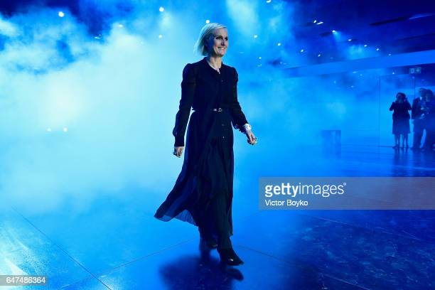 Maria Grazia Chiuri steps out on the runway during the Christian Dior show as part of the Paris Fashion Week Womenswear Fall/Winter 2017/2018 on...