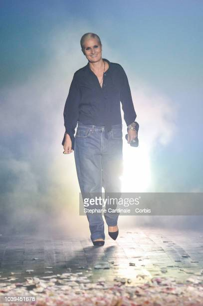 Maria Grazia Chiuri walks the runway during the Christian Dior show as part of the Paris Fashion Week Womenswear Spring/Summer 2019 on September 24...