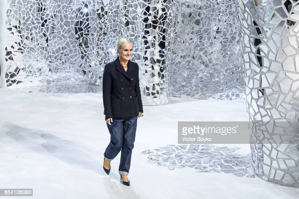 Maria Grazia Chiuri walks the runway during the finale of the Christian Dior show as part of the Paris Fashion Week Womenswear Spring/Summer 2018 on...
