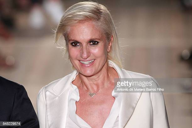 Maria Grazia Chiuri walks the runway during the Valentino Haute Couture Fall/Winter 2016-2017 show as part of Paris Fashion Week on July 6, 2016 in...