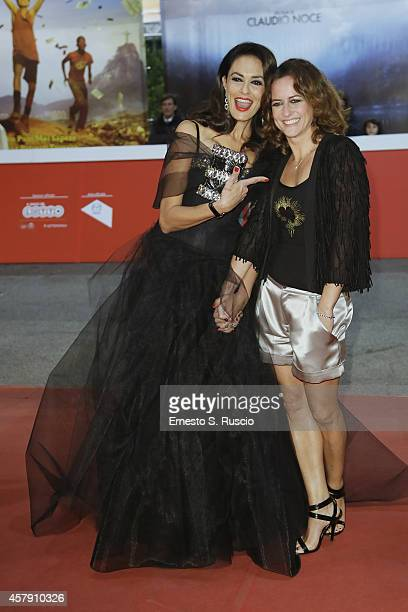 Maria Grazia Cucinotta and Chiara Giordano attend the 'Il Postino' red carpet during the 9th Rome Film Festival on October 26 2014 in Rome Italy