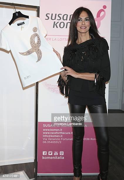 Maria Grazia Cucinotta attends the Maria Grazia Severi presentation as part of Milan Fashion Week Womenswear Autumn/Winter 2014 on February 22, 2014...