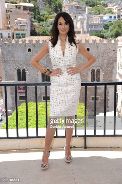 Maria Grazia Cucinotta attends the Taormina Film Fest 2010 Photocall on June 17 2010 in Taormina Italy