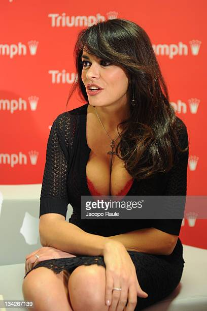 Maria Grazia Cucinotta attends Triumph Flagship Store Opening on November 29 2011 in Milan Italy