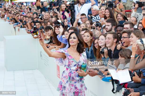 Maria Grazia Cucinotta walks the red carpet ahead of the 'Suburbicon' screening during the 74th Venice Film Festival at Sala Grande on September 2...