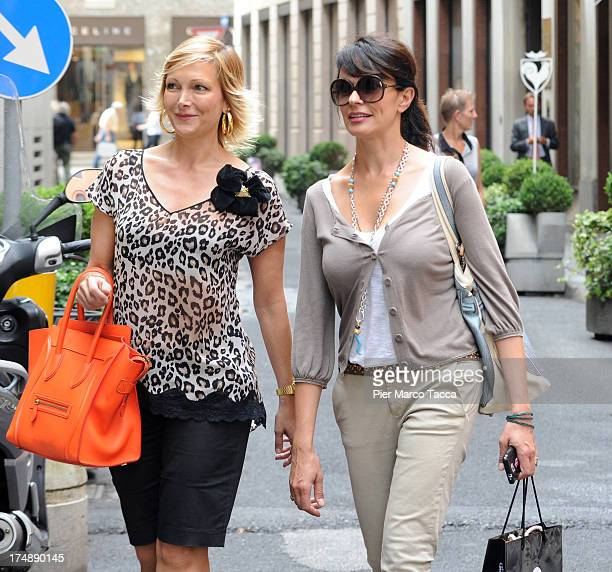 Maria Grazia Severi and Maria Grazia Cucinotta are sighted in via Montenapoleone on July 29, 2013 in Milan, Italy.