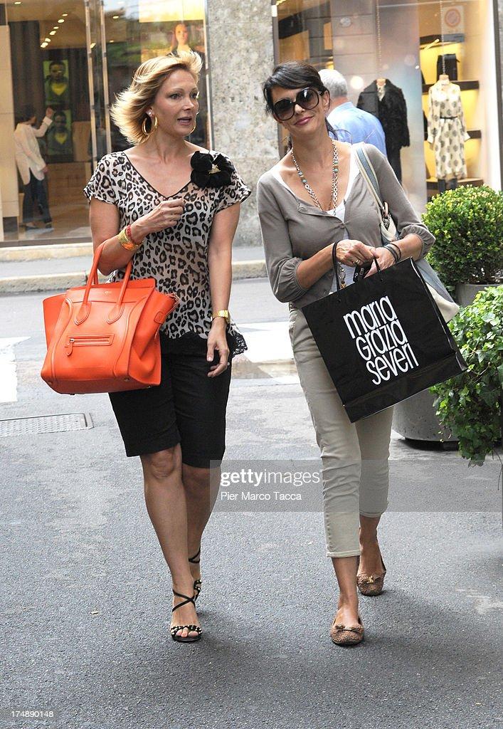 Maria Grazia Severi and Maria Grazia Cucinotta sighting in via Montenapoleone on July 29, 2013 in Milan, Italy.