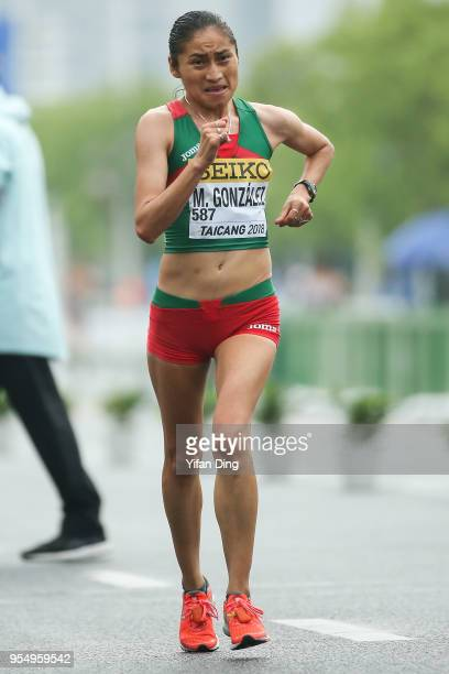 Maria Guadalupe Gonzalez of Mexico in action during the Women's 20 kilometres Race Walk of IAAF World Race Walking Team Championships Taicang 2018 on...