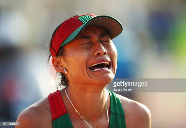 Maria Guadalupe Gonzalez of Mexico shows her emotions as she wins silver in the Women's 20km Walk final on Day 14 of the Rio 2016 Olympic Games at...