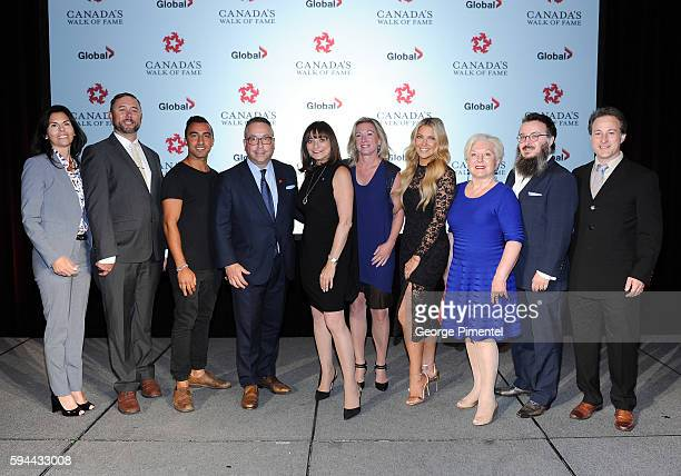 Maria Hale SVP Global Enterainment and Acquisitions at Corus Entertainment Jonathan Stoddart Spoken word performer Ayaz Virani 2016 Canada's Walk of...