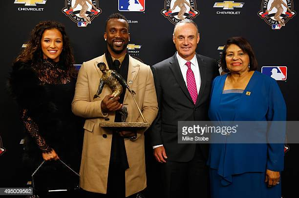 Maria Hanslovan Andrew McCutchen of the Pittsburgh PiratesCommissioner of Baseball Rob Manfred and Vera Cristina Zabala pose for the media after the...