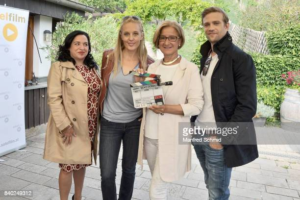Maria Happel Lilian Klebow Johanna MiklLeitner and Michael Steinocher pose during a 'Soko Wien' photo call at Heuriger TratWieser on August 28 2017...