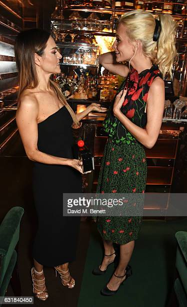 Maria Hatzistefani and Poppy Delevingne attend the Rodial dinner hosted by Poppy Delevingne and Maria Hatzistefanis at Casa Cruz on January 16 2017...