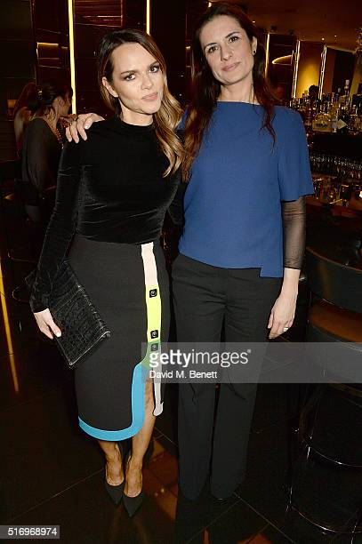 Maria Hatzistefanis and Livia Firth attend the BFC/Vogue Designer Fashion Fund 2016 winners announcement at The Bulgari Hotel on March 22 2016 in...