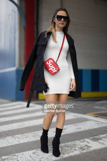 Maria Hatzistefanis is seen attending Christian Siriano during New York Fashion Week wearing Off White Burberry Supreme on September 9 2017 in New...