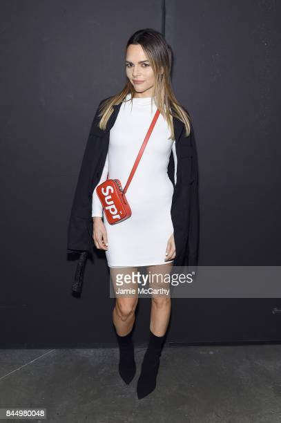 Maria Hatzistefanis poses backstage for the Christian Siriano fashion show during New York Fashion Week The Shows at Pier 59 on September 9 2017 in...