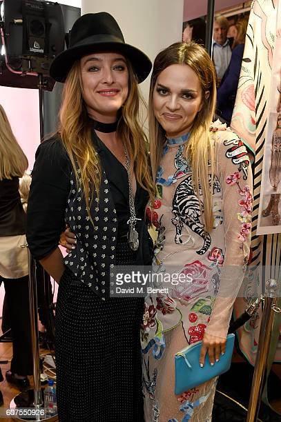 Maria Hatzistefanis poses with designer Alice Temperley backstage following the Temperley London SS17 show sponsored by Rodial at London Fashion Week...
