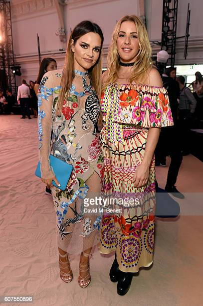 Maria Hatzistefanis poses with singer Ellie Goulding as they attend the Temperley London SS17 show sponsored by Rodial at at London Fashion Week...