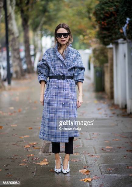 Maria Hatzistefanis wearing checked OffWhite coat Alyx belt white Balanciaga shoes Celine sunglasses on October 19 2017 in London England