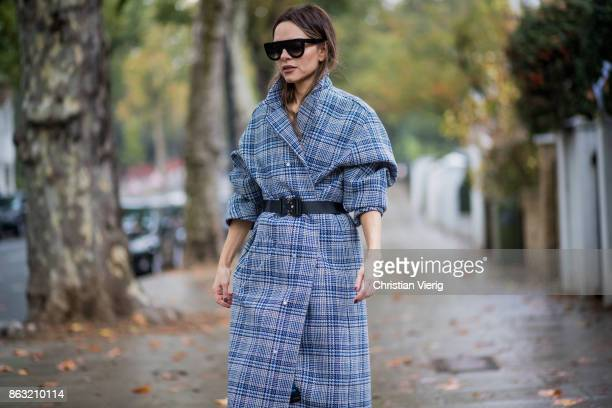 Maria Hatzistefanis wearing checked OffWhite coat Alyx belt white Balanciaga shoes Celine sunglasses on October 19 2017 in London England