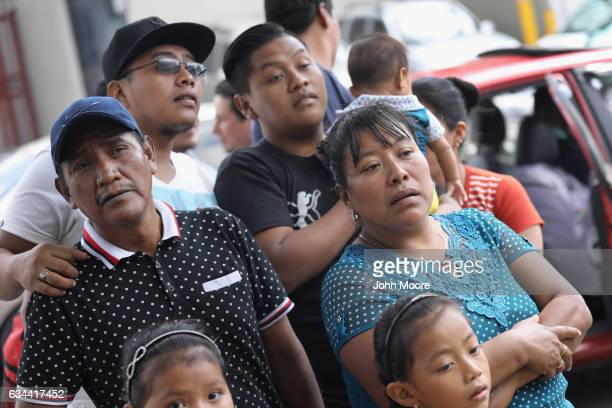 Maria Hernandez and family members look for her son Eric Perez after he arrived on an ICE deportation flight on February 9 2017 to Guatemala City...