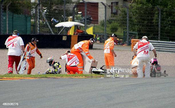 Maria Herrera of Spain and Husquarna Factory Laglisse and Ana Carrasco of Spain and RBA Racing Team crash out during the Moto3 race during the MotoGp...
