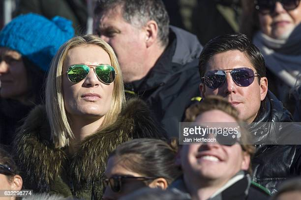 Maria HoeflRiesch and her husband Marcus Hoefl are seen during the downhillrace in Kitzbuehel on January 21 2017 in Kitzbuehel Austria